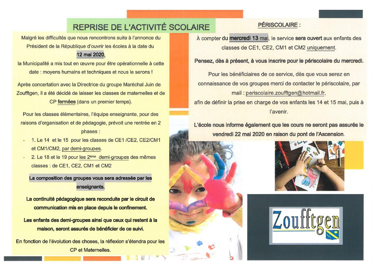 Information aux parents d'élèves: reprise de l'activité scolaire